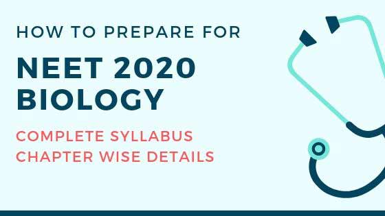 NEET 2020 Biology Complete Chapter wise Syllabus