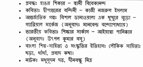 Reduced Syllabus Bengali
